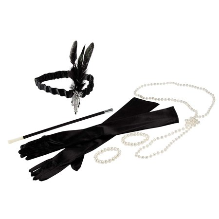 1920s Costume Accessory - 6-Set Gloves Headband Faux Pearl Necklace Bracelet Cigarette Holder