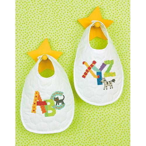"Baby Hugs Alphabet Bib Pair Stamped Cross Stitch Kit-9""X14"" Set Of 2"