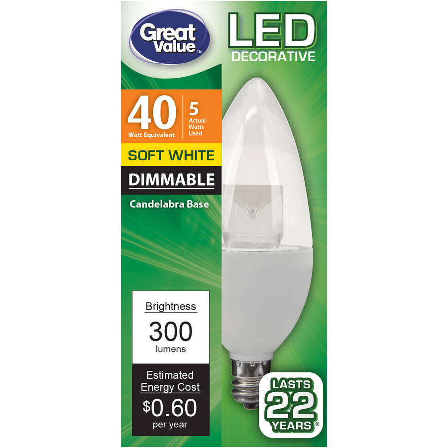 Great Value LED Light Bulb 5W (40W Equivalent) DECO (E12) Dimmable, Soft White