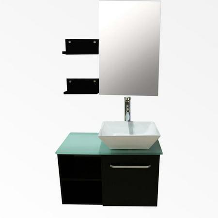 "Ceramic Bathroom Vanity - 28"" Bathroom Vanity Cabinet Square Ceramic Sink Modern Design w/Mirror Faucet"