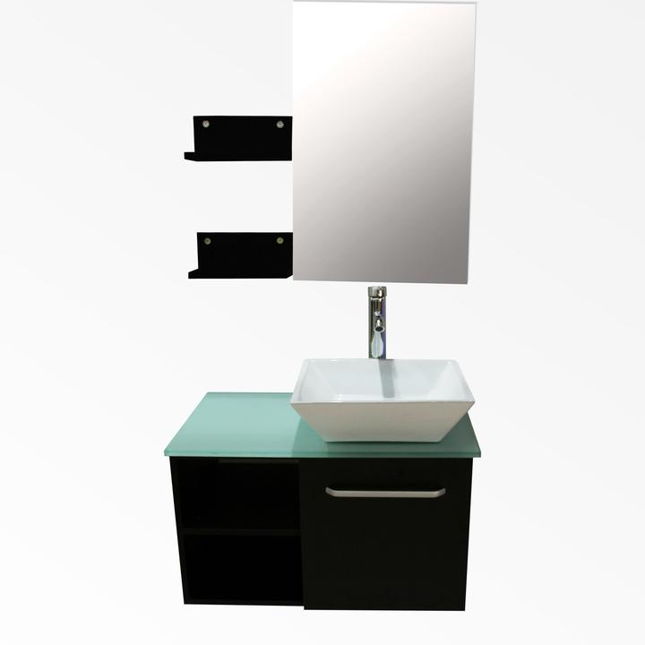 28u201d Bathroom Vanity Cabinet Square Ceramic Sink Modern Design W/Mirror  Faucet