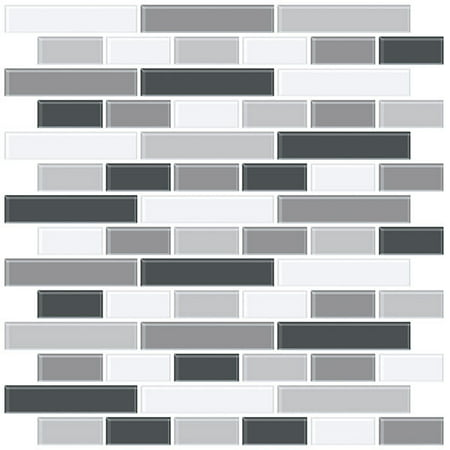 InHome Smoked Glass Peel & Stick Backsplash Tiles (Best Thinset For Glass Tile)