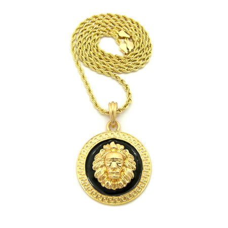 "Lion Head Medallion Pendant w/ Chain Necklace - Black/Gold-Tone, 3mm 18"" Rope Chain"