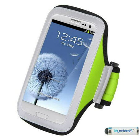 Premium Sport Armband Case for ZTE Obsidian Z820 - Green + MYNETDEALS Mini Touch Screen Stylus