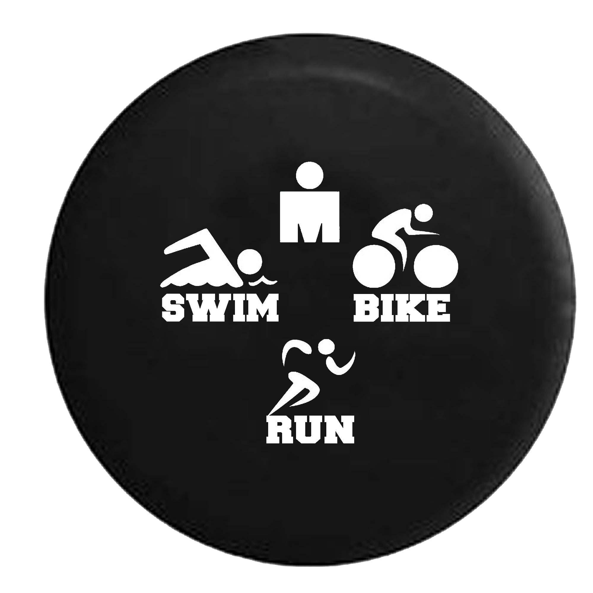 Swim Bike Run Tri Triathlon 5k 13.1 Racing Athlete Fitness Je Spare Tire Cover Black 29 in