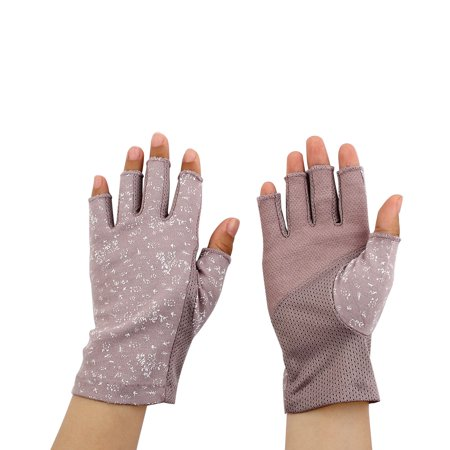 Half Finger Mittens Summer Outdoor Sun Resistant Gloves Light Purple Pair