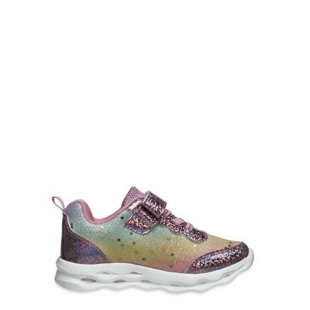 Badgley Mischka Girls Tie Dye Glitter Velcro Strap Athletic Sneakers (Toddler Girls)
