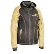Shaf - Women's Two Tone Denim & Leather Scuba Jacket w/ Full Hoodie Jacket Liner - Black - Size XL