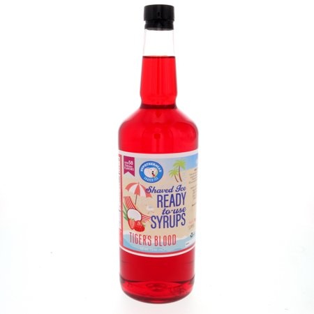Tigers Blood Ready to Use Shaved Ice or Sno Cone Syrup Quart (32 Fl Oz) Rival Snow Cone Syrup
