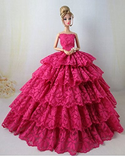 1 PCS Rose Red Multi-Layers Embroidery Lace Luxurious Handmade Princess Skirt Strapless Evening Party Gown Dress for Barbie Doll Clothes Shoes Doll House Play Accessories