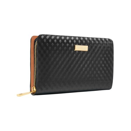Genuine Leather Wallets For Women - Womens Ladies Clutch With Zipper RFID Blocking ()