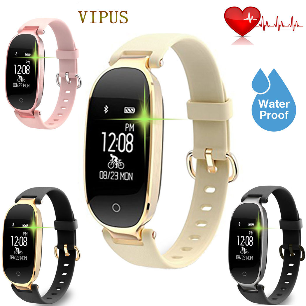Fitness Tracker Touch Screen Lady Smart watch with Active Heart Rate Monitor Suit for Swimming; Pedometer for Women Samsung IOS Pink