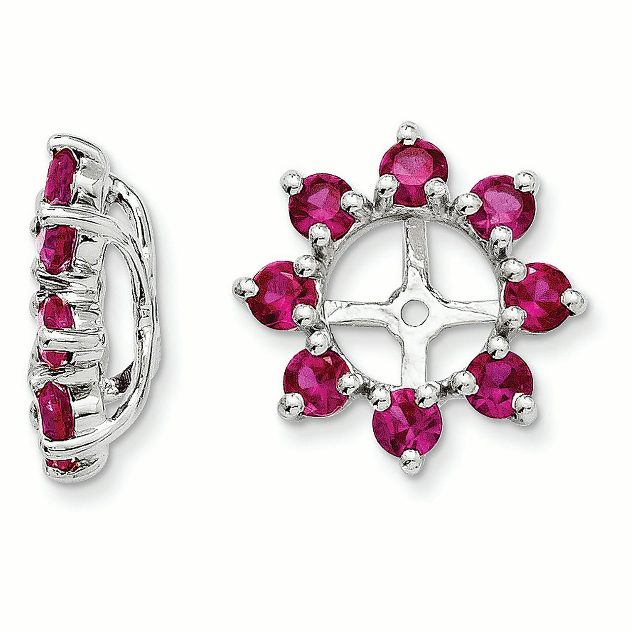 Sterling Silver Created Ruby Earring Jacket