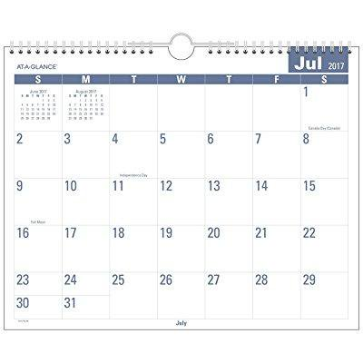 At A Glance Academic Monthly Wall Calendar  Easy To Read  July 2017   June 2018  14 7 8 X 11 7 8  Wirebound  Aylp828