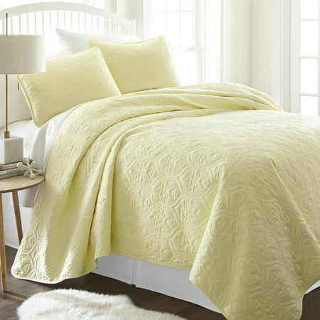 Home Collection Damask Microfiber Coverlets, Queen, Yellow, 3-Pieces