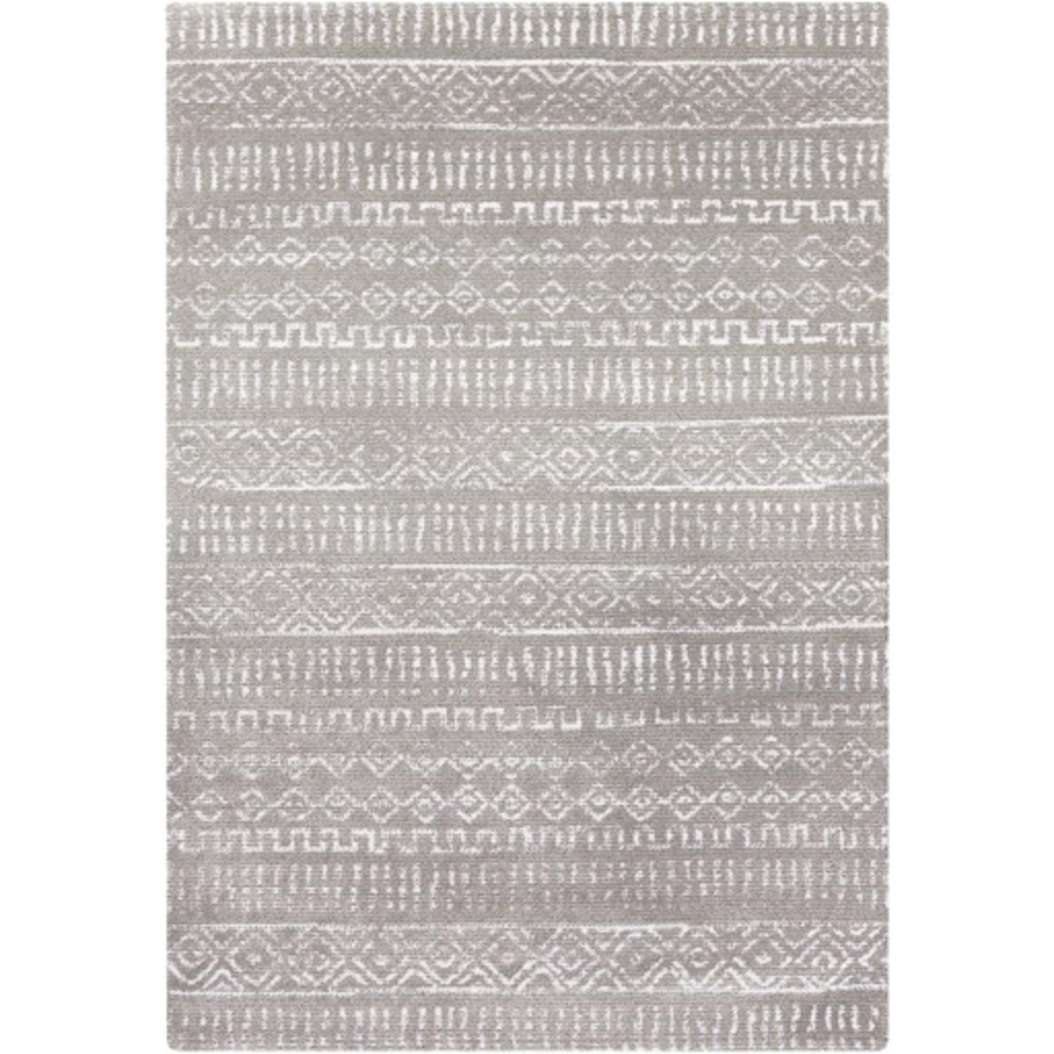 9' x 12' Ugly Sweater Slate Gray and Snow White Lustrous Sheen Area Throw Rug