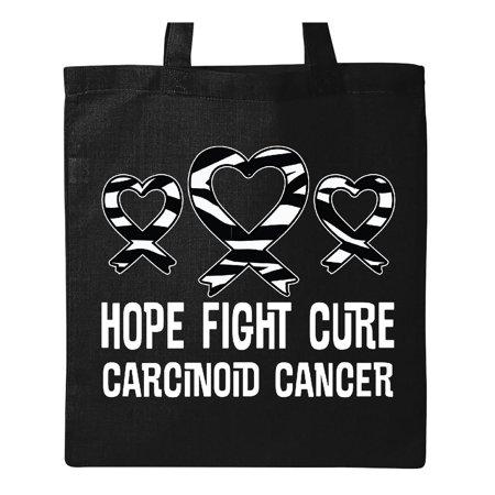 Zebra Animal Print Tote - Carcinoid Cancer Zebra Ribbon Awareness Tote Bag Black One Size
