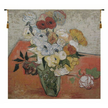 Charlotte Home Furnishings Roses and Anemones by Vincent Van Gogh Tapestry