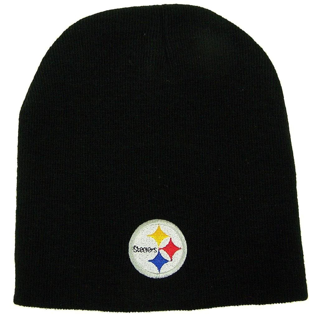 Pittsburgh Steelers NFL Black Skull Cap Cuffless Beanie Winter Knit Hat by Team Apparel