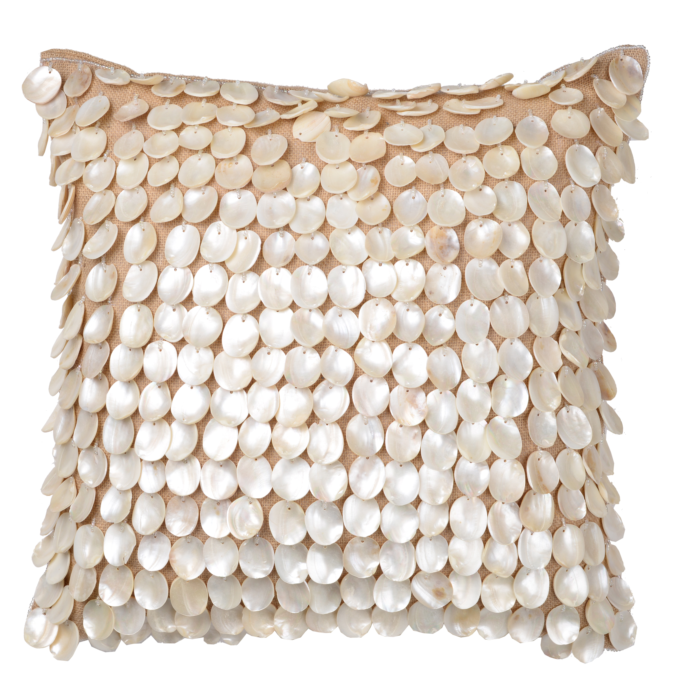 A&B Home Dashiell Silver Beaded Burlap Throw Pillow, 18 by 18-Inch by A&B Home