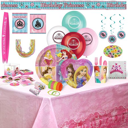 Disney Princess Birthday Party Supplies - 159 Piece Bundle - Princess Ariel Birthday Party