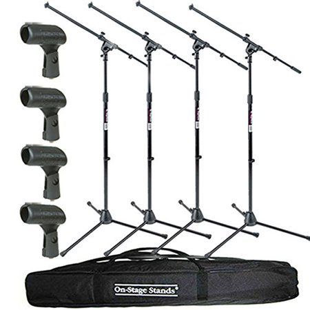 On Stage Stands MS7701B Tripod Boom Microphone Stand 4 Pack + 4 Unbreakable Dynamic Rubber Mic Clip + Speaker Stand