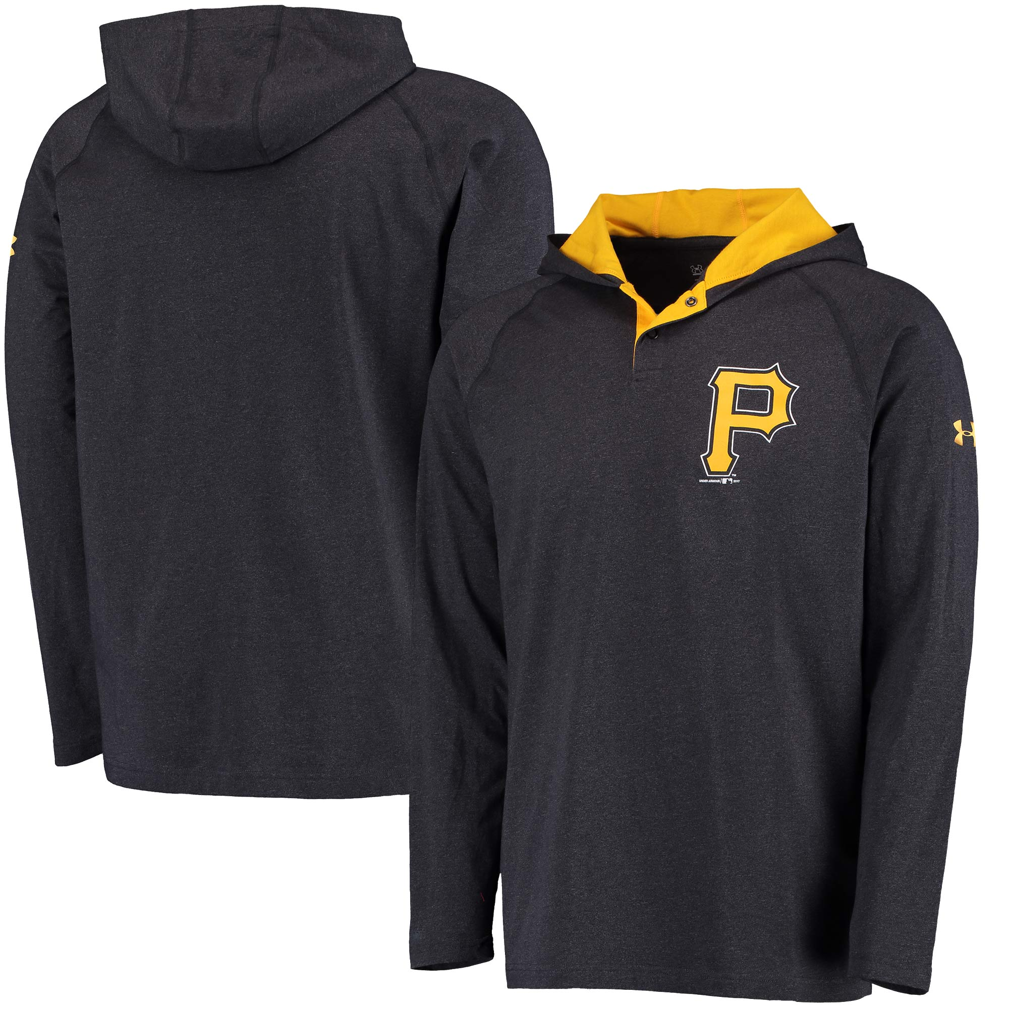 Pittsburgh Pirates Under Armour Charged Henley Pullover Hoodie - Black