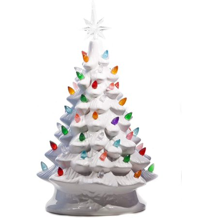 ReLive Christmas is Forever Lighted Tabletop Ceramic Tree, 14.5-Inch White Tree with Multicolored Lights ()