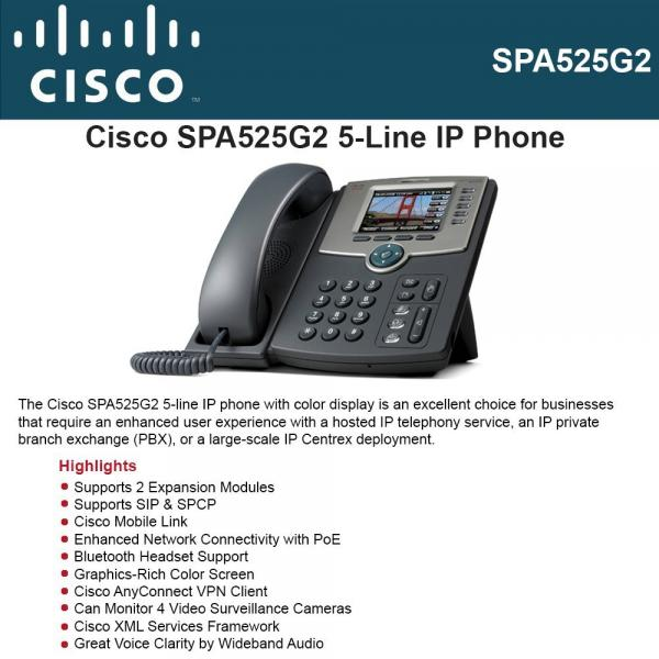 Cisco 5-Line IP Phone with Color Dis by