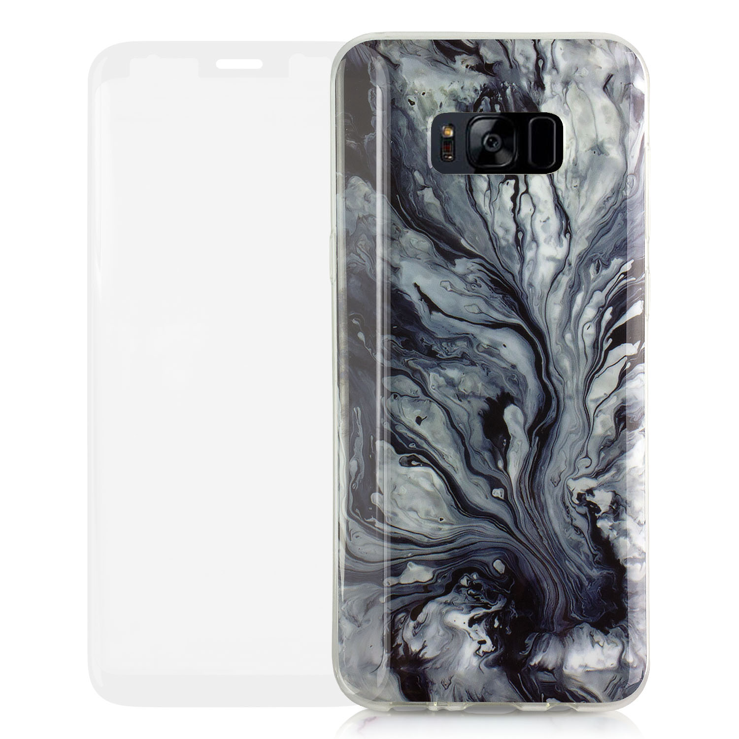 Samsung Galaxy S8 Plus Fully Protected [Bundle Case with Tempered Glass] Marbled Stone (White/Black) by TortugaArmor Transparent Flexible Soft Rubber Gel TPU Protective Shell Hybrid Bumper Case