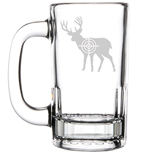 12oz Beer Mug Stein Glass Deer With Bullseye Hunting by