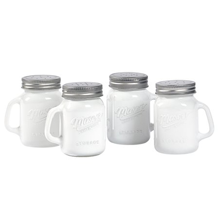 Mason Craft and More 4 Ounce Round Glass Salt and Pepper with Handle and Silver Metal Lid, Opaque White, Set of 4 - Glass With Lid Salt And Pepper Set