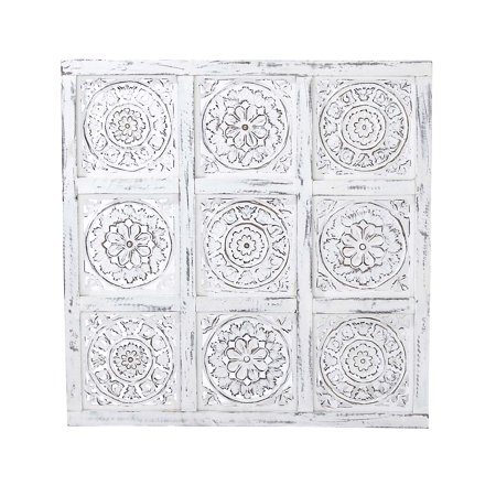 Decmode 26 X 26 Inch Traditional Whitewashed Mango Wood Carved Floral Design Square Paneled Wall Decor, (Square Traditional Wall)