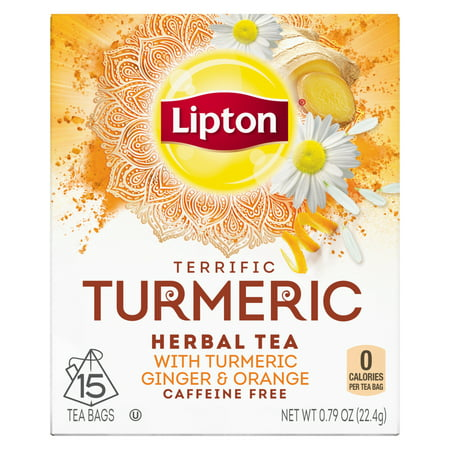 (2 Pack) Lipton Herbal Tea Bags Terrific Turmeric 15