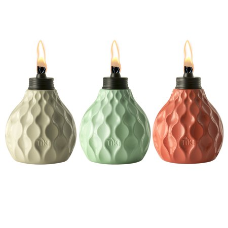 TIKI? Brand 6-Inch Marine Glass Table Torch Seaside Escape Assorted Colors Ivory, Coral or Blue 3-pack