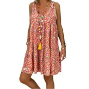 Women Beach Kaftan Casual Short Mini Shirt Dress For Women Sleeveless Paisley Flowing Party Sundress Holiday Mini Sundress Women Evening Cocktail Party Sundress Beachwear Swimwear