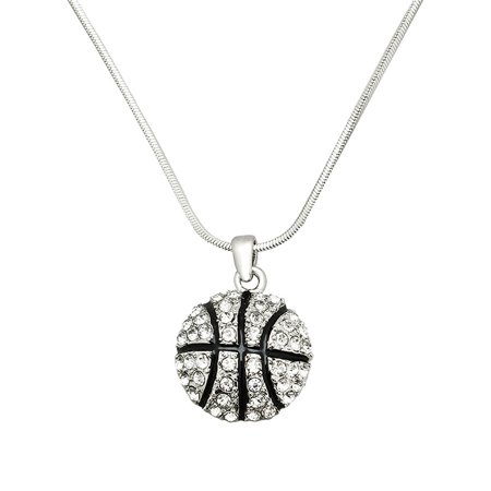 Basketball Pendant Necklace Rhinestone Crystal Rhodium High Polished