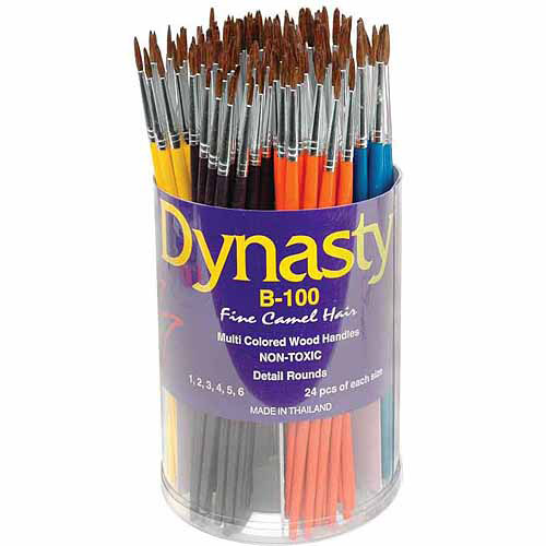 Dynasty B-100 Round Fine Camel Hair Short Wood Handle Paint Brush Assortment, Assorted Size, Brown, Pack of 144