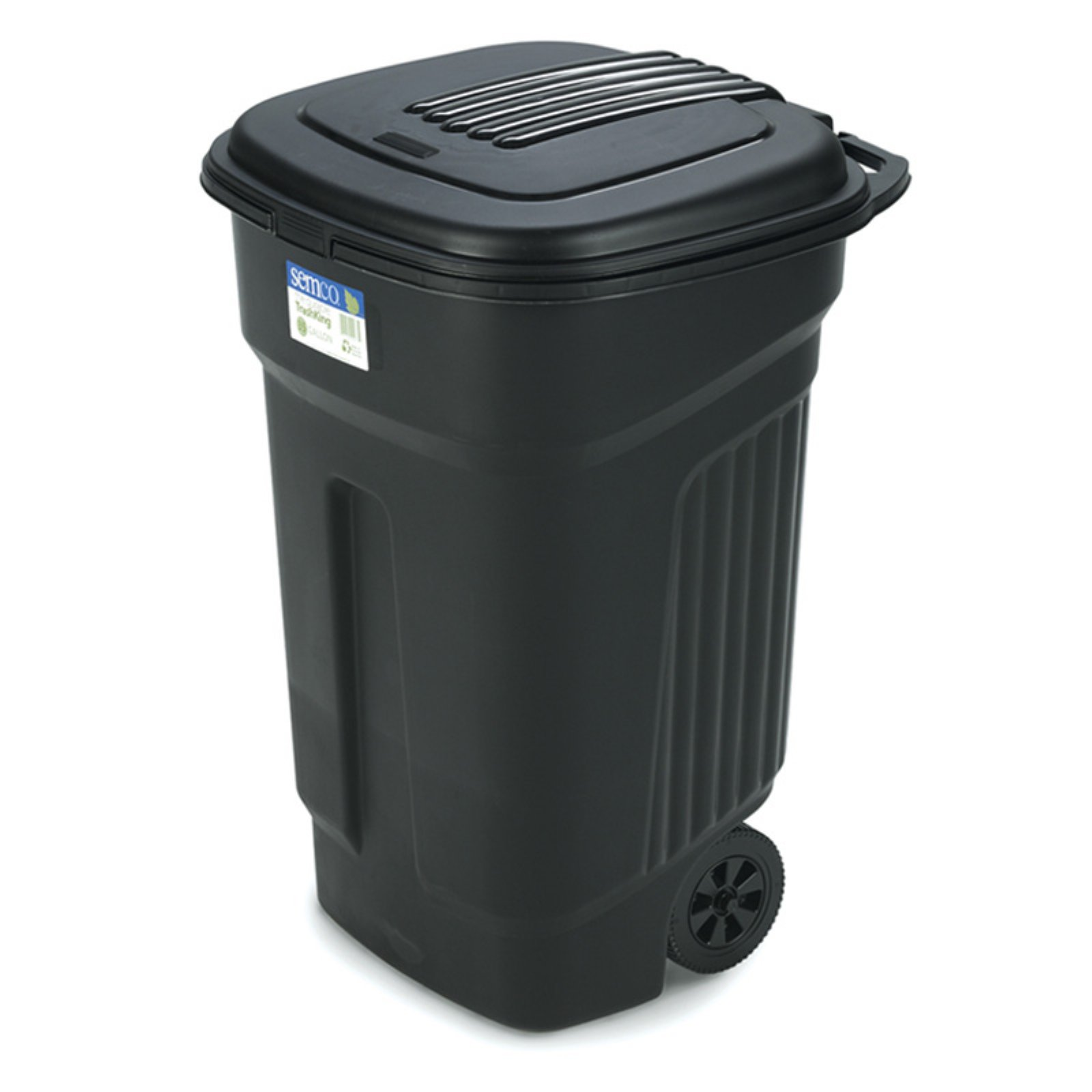Semco 35 Gallon Injection Molded Square Trash Can with Wheels Case