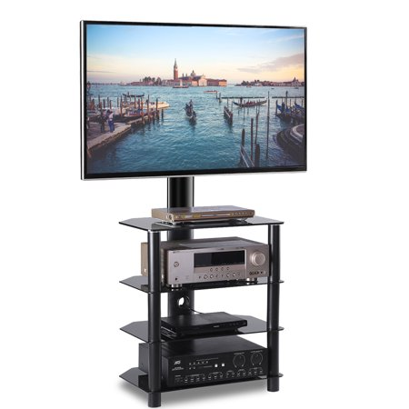 5Rcom 4-Tiers Media Component TV Stand with 5Rcom Mount Audio Shelf,Height Adjustable Bracket Suit for 32 37 42 47 50 55 inch LCD, LED OLED TVs or Curved