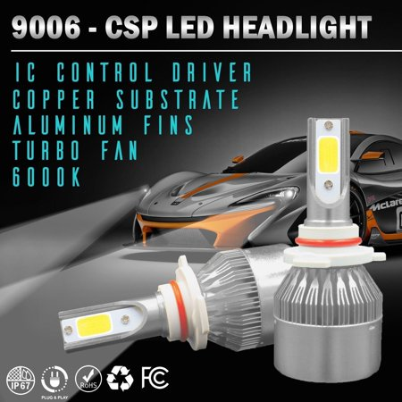 Wideskall® 9006 HB4 OSRAM COB LED Headlight Bulb Conversion Kit 6000K Low Beam Bulbs ()