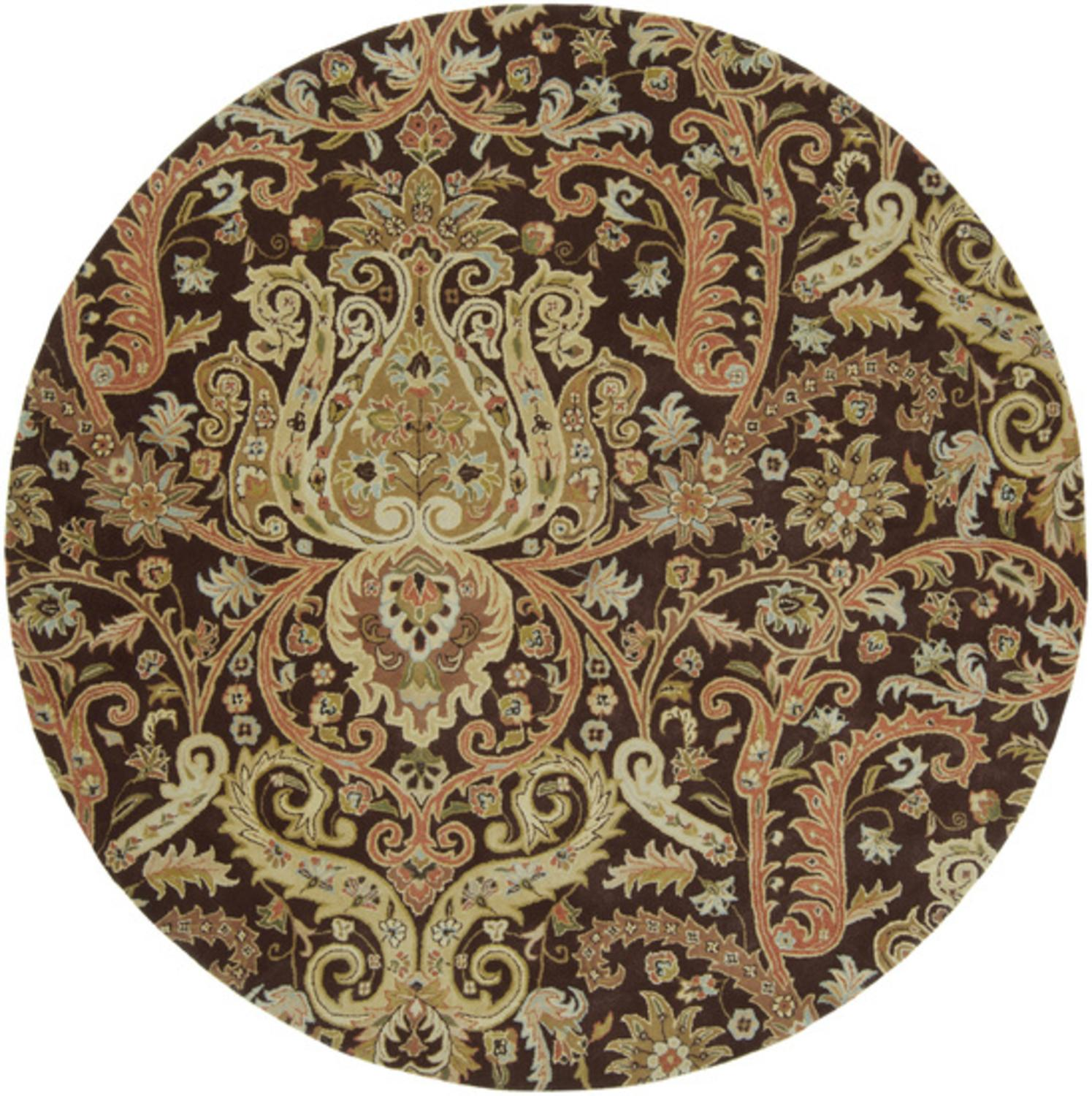 8' Vigne Bohème Caramel and Brown Round Wool Area Throw Rug