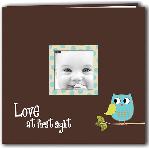 "Baby Owl Printed Design Postbound Scrapbook Album 12""X12""-Blue"
