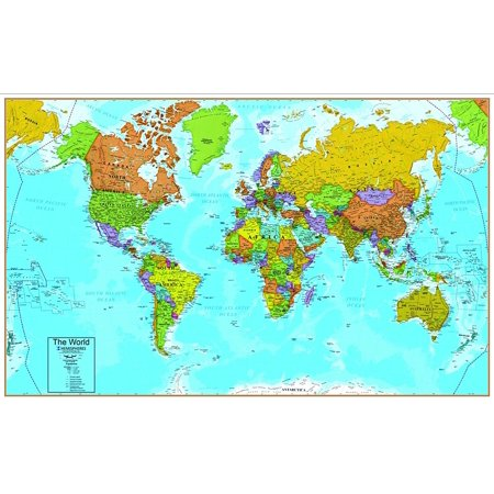 World Map Wall Chart With Interactive App Popar By Round World - Round world map image