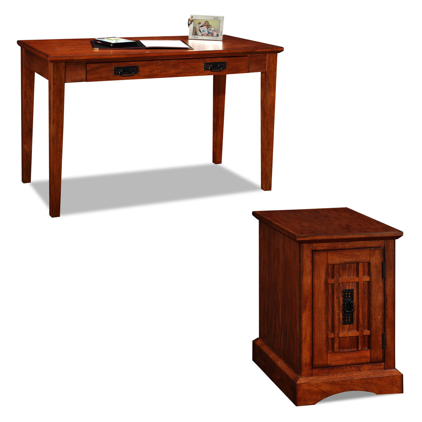 Leick Mission Laptop Desk with Printer Stand - Oak