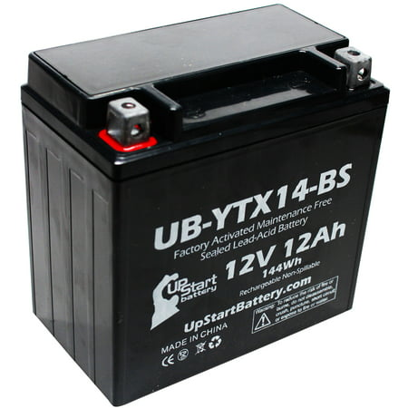 Replacement 2012 Kawasaki ZG1400 Concours 1400 CC Factory Activated, Maintenance Free, Motorcycle Battery - 12V, 12AH, (04 Replacement Motorcycle Battery)