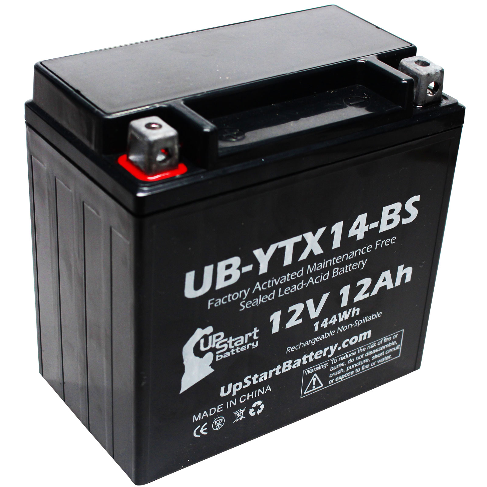 Replacement 2012 Kawasaki ZG1400 Concours 1400 CC Factory Activated, Maintenance Free, Motorcycle Battery - 12V, 12AH, UB-YTX14-BS