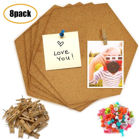 JUSONEY Hexagon Cork Board Tiles 8 Pack with Full Sticky Back - Mini Wall Bulletin Boards, Pin Board-Decoration for Pictures, Photos, Notes - Bonus 20 Push Pin Clips and 35 Multi-Colored P ()