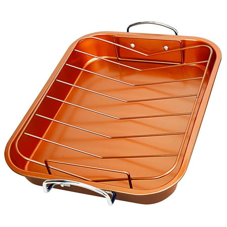 Copper Roasting Pan Roaster Cookware with Nonstick Rack Lasagna Bake Dish Open Copper Plated Oval Pot Rack