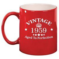 Ceramic Coffee Tea Mug Cup Vintage Aged To Perfection 1959 60th Birthday (Red)